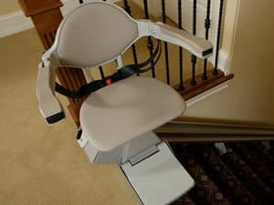 stair lift on the top of the stair