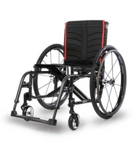 black and red manual wheelchair