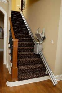 folded stair lift middle of stair