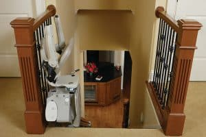 top of staircase with folded stair lift