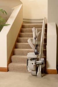 folded curved stair lift bottom of stairs