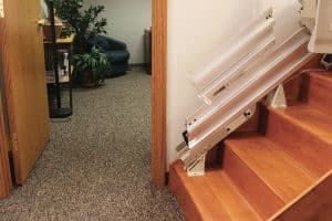 Stair with power stair lift installed