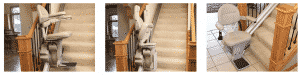 3 images of bruno stair lift bottom of stairs folded and unfolded