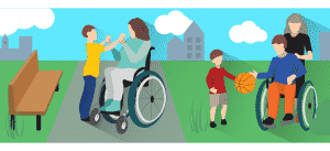 woman on wheelchair to the left holdings child hands while man on the right it's on wheelchair chair with basketball