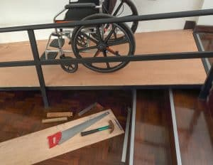 wooden residential ramp for wheelchair