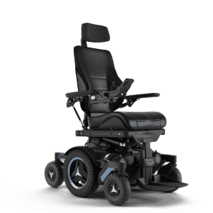 Power wheelchair facing to the right 3 wheels on each side